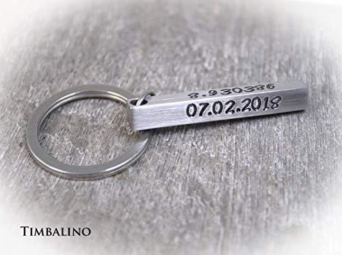 Timbalino Schlüsselanhänger aus Edelstahl mit Wunschgravur, Personalisierbar, Geschenk für Herren