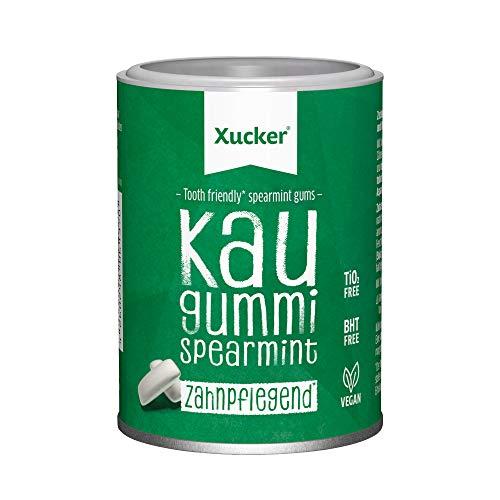 Xucker Zuckerfreie Zahnpflege Kaugummis Spearmint - Xylit Kaugummi zuckerfrei mit Spearmint Geschmack I Vegane Xylitol Kaugummis zur Zahnpflege und gegen Mundgeruch (100g)