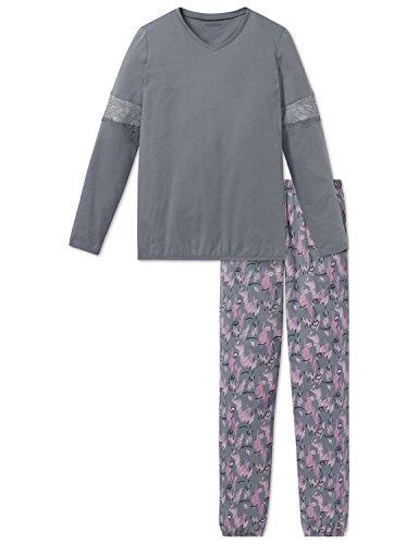Schiesser Mädchen Family Anzug lang Zweiteiliger Schlafanzug, Grau (Graublau 209), 176