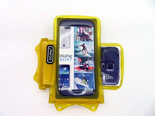 DiCAPac WP-C1 Universelle wasserdichte Hülle für ZTE Imperial II/Maven/Open L / V5 Lux Smartphones in Gelb (10m, IPX8-Zertifizierung)