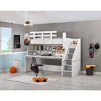 Cama alta puzzle con escritorio, gris colchón sin colchón: Amazon.es: Hogar