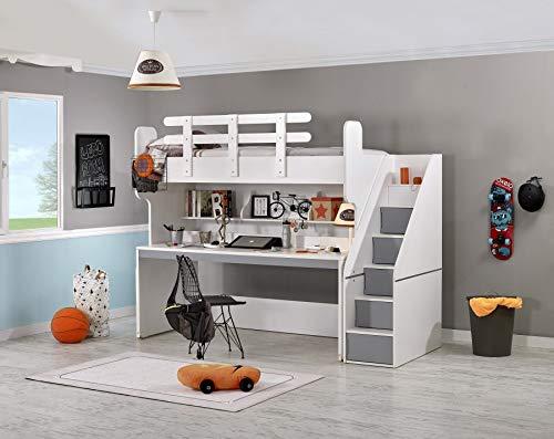 Cama alta puzzle con escritorio, gris colchón sin colchón