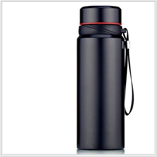 Jusemao Botella termo de vacío de acero inoxidable con cuerda portátil botella de deportes al aire libre 750ml adecuado para aventura al aire libre u oficina-black_750ml