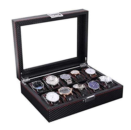 FGDSA Caja de Almacenamiento de Relojes Caja de Reloj de Fibra de Carbono Caja de Almacenamiento de Joyas Caja de joyería Simple Caja de Reloj mecánico para el hogar Moda