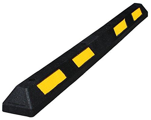 Tope de ruedas para aparcamiento 1800x150x100mm de caucho negro con de bandas amarillas reflectoras, para mayor visibilidad. Topes para delimitar el espacio de los aparcamientos (1- Tope)