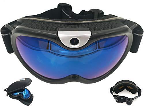 FOCUSHD Skiing Goggle Video Camera,Ergonomic Snowboarding Eyewear Action Camcorder 1080P Wide Angle Double Glazing Anti-Fog Anti-Glare UV Protection Support 32GB MicroSD Card