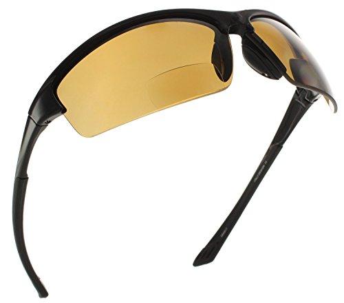 Fiore La Jolla Bifocal Polarized Reading Sunglasses TR90 Readers for Men and Women [Black Brown, 2.50]