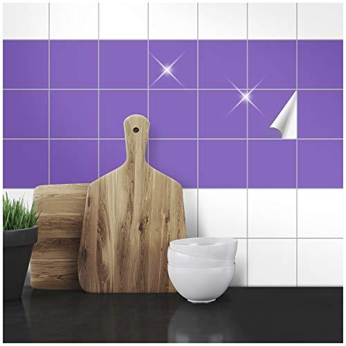 Wandkings Fliesenaufkleber - Wähle eine Farbe & Größe - Lila Glänzend - 10 x 10 cm - 20 Stück für Fliesen in Küche, Bad & mehr