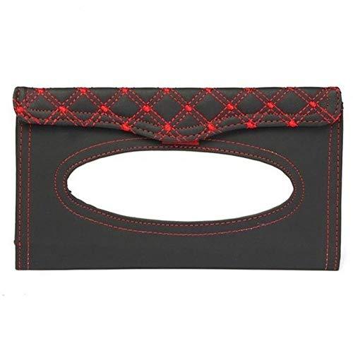 No-branded HMSCC Car Kit Tissue Box Universel PU Voiture Pare-Soleil Suspendu Type de Broderie Motif Tissue Couverture (Color : 1, Color Name : Rouge)