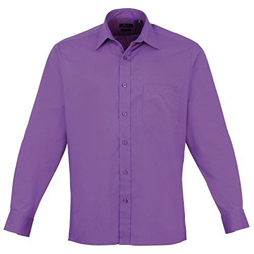 Camisa de manga larga de popelina prémium Morado Rich Violet 38