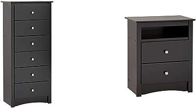 Black Sonoma Tall 6 Drawer Chest & Prepac Sonoma Tall 2-Drawer Nightstand, Black