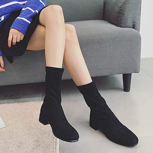 Shukun enkellaarsjes High-Tube Suede dameslaarzen herfst en winter enkele laarzen dik met vierkant hoofd plus fluwelen stretchlaarzen persoonlijkheid lage hak zwarte laarzen