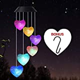 Wind Chime,solar wind chimes outdoor,solar Heart/hummingbird wind chime Outdoor decor,yard decorations solar light mobile,memorial wind chimes,mobile led(gifts for mom,birthday gifts for mom)+S Hook