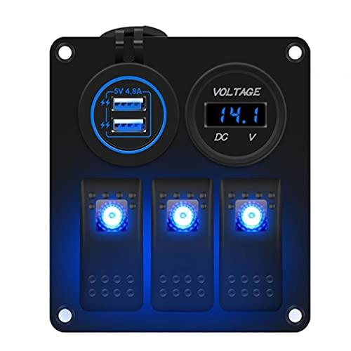 Panel de interruptores de balancín 12V 24V 3 GANG LED DUAL USB USB Toma de salida para vehículos de remolque de automóviles marino VEHÍCULOS YACHT CAMIÓN AZUL Panel de calidad