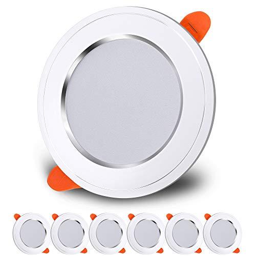 LED Einbaustrahler IP44 Bad Deckenspots 7W Warmweiß LED 3000K 230V Deckeneinbauleuchte 630lm für Wohnzimmer, Bad, Küche, 6er Set