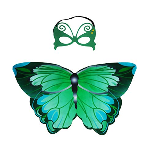 Toyvian Disfraz de alas Chal Mariposa con máscara de Hada Mariposa monarca Capa de ala para niñas Muchacha Accesorio