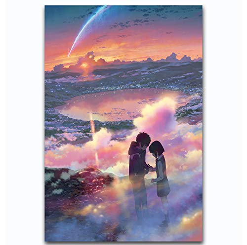 MZCYL Canvas Painting Wall Art Picture 2017 Anime Movie Kimi No Na WA Your Name Posters Print Canvas Painting Sin Marco 40 * 60 Cm