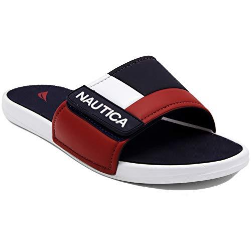Nautica Kids Bower Youth Athletic Slide, Adjustable Straps Comfort Sandal-Navy/White/Red-1