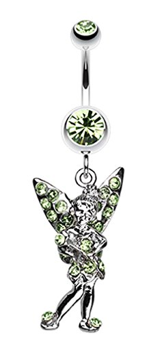 Tinker Bell Sparkle Belly Button Ring - 14 GA (1.6mm) - Light Green - Sold Individually