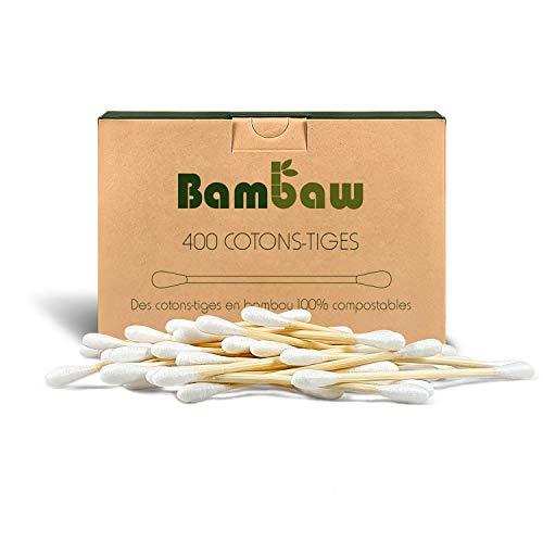 Coton-tige en bambou   Coton-tige bio   Coton-tige en bois   Emballage écologique   Recyclable et biodégradable   400 unités  Bambaw