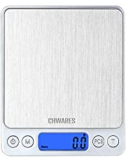 CHWARES Digitale keukenweegschalen, oplaadbaar met USB, 3 kg/0,1 gram, kleine voedselweegschalen, elektrische kookweegschalen, waterdichte digitale met USB oplaadbare schaal, LCD-display, roestvrij staal, voor ingrediënten, sieraden, koffie