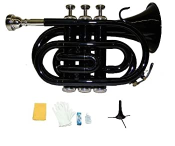 Merano B Flat Black Pocket Trumpet with Case+Mouth Piece Valve oil A Pair Of Gloves Soft Cleaning Cloth+Stand