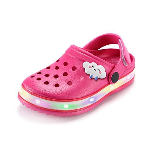 VIYEAR Kinder Jungen Mädchen LED Clogs Süße leichte Sommer Hausschuhe Garden Beach Sandalen, 29 EU, Rosenrot