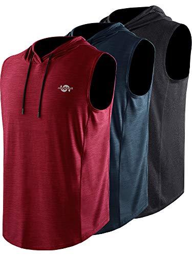 Cadmus Herren Dri Fit Workout Shirts mit Kapuze Gr. XXL, 67# Schwarz & Dunkelgrau & Rot, 3er-Pack