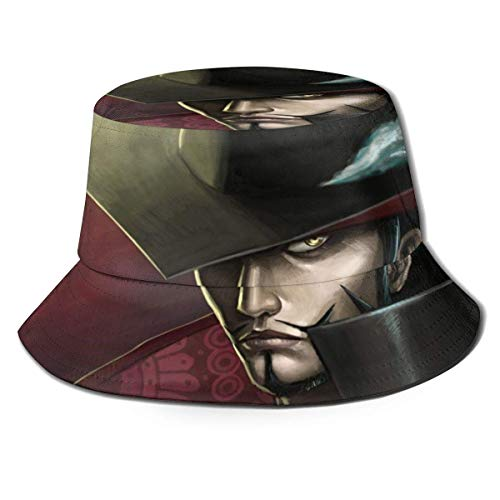 dongwan Sombrero de pescador Mihawk de una pieza, transpirable, con impresión completa, sin deformación, adecuado para cualquier estación, unisex, parte superior plana, sombrero Bla