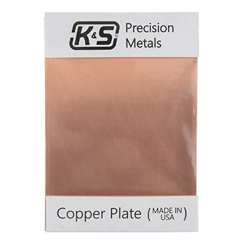 """K&S Precision Metals 6602 Copper Etching Plate, 0.050"""" Thickness x 5"""" Width x 7"""" Length, 16 Gauge, 1 pc, Made in USA"""