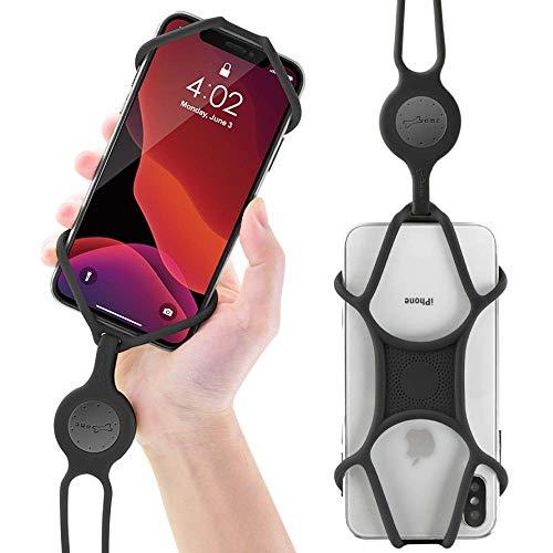 Bone Multifunktion Handy Umhängeband, Universal Handykette Smartphone Necklace, Elastisch Handyband zum Umhängen, Handy Halsband Lanyard für iPhone X Max XR XS 8 7 Plus Samsung Huawei - Schwarz