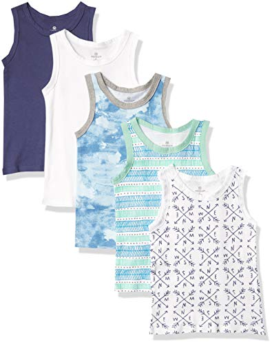 HonestBaby Muscle Tee Sleeveless T-Shirt Multi-Packs, 5-Pack Dots & Dashes, 18 Months