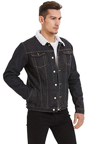Plaid&Plain Men's Fleece Lined Borg Collar The Sherpa Trucker Jacket Jean Denim Jacket 1347# Black M-34