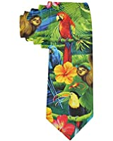 Men's Macaw Amazon Rainforest Polyester Silk Casual Gentleman Tie Necktie Gift-One Size