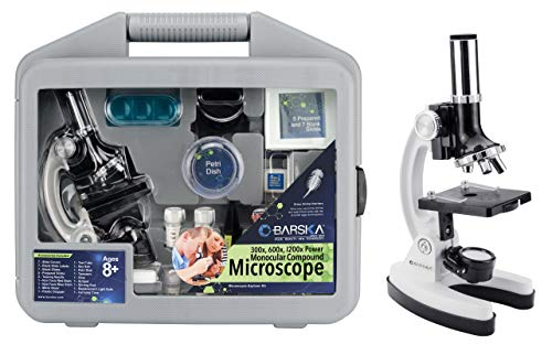 Barska AY12938 300x, 600x, 1200x Monocular Compound Microscope Explorer Kit for Students and Kids