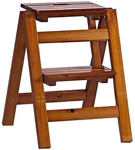 AISHANG Escalera plegable 2/3 pasos taburete madera maciza de 'cinta, soporte de...
