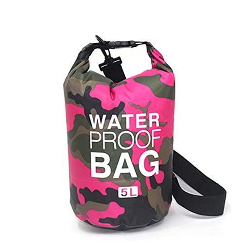 Bolsa seca a prueba de agua, rollo superior de compresión seca, camuflaje de buceo al aire libre plegable, para kayak, playa, rafting, navegación, senderismo, camping y pesca, camuflaje de rosa,5L