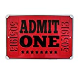 Treasure Gurus Admit One Red Movie Theatre Ticket Metal Sign Home Theater Wall Decor