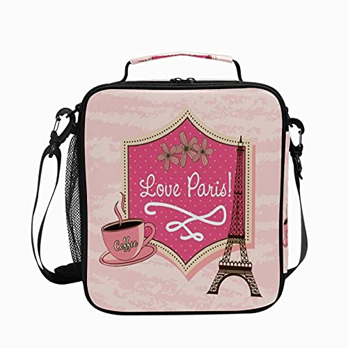 Bolsa de almuerzo aislada Love Paris Tower Eiffel, reutilizable, enfriador, congelable, térmica, a prueba de fugas, para oficina, escuela, picnic, senderismo, almuerzo