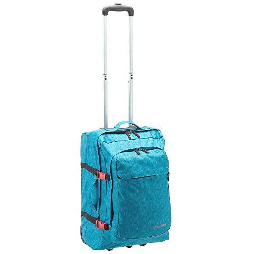 Travelite Basics Rollenreisetasche mit Rucksackfunktion 53 cm türkis Druck