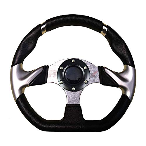 YouLeGo - Universal Golf Cart Steering Wheel,13 inch Round/Flat Steering Wheel and Silver/Black Steering Wheel Adapter for All of Golf Carts. (Steering Wheel - Flat (Black Horn Cover))