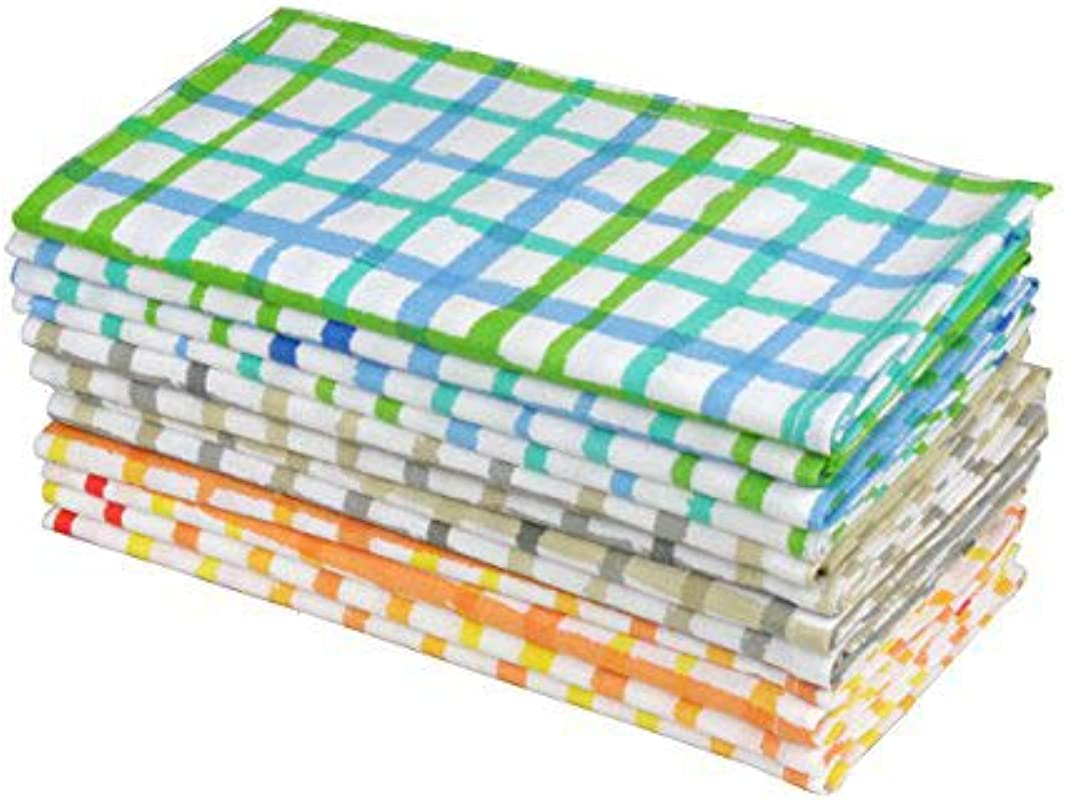 Cotton Craft Water Color Effect Plaid Cotton Dinner Napkins 12 Pack Multi Color 100 Ringspun Combed Cotton Size 20x20 Easy Care Machine Wash