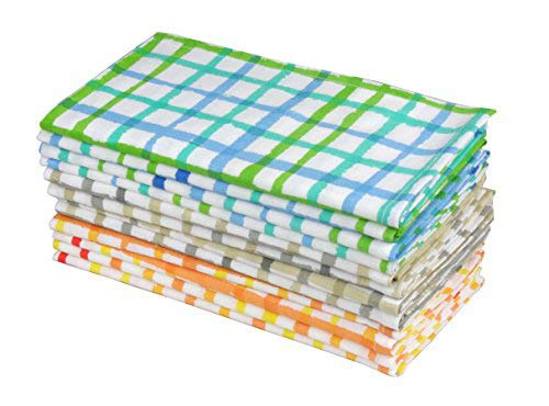 Watercolor Plaid Cloth Dinner Napkins, 20x20, Set of 12