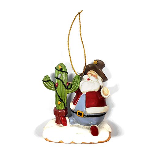 Sonoran Souvenirs Cactus Christmas Tree with Sheriff Hat Santa Resin Christmas Ornament