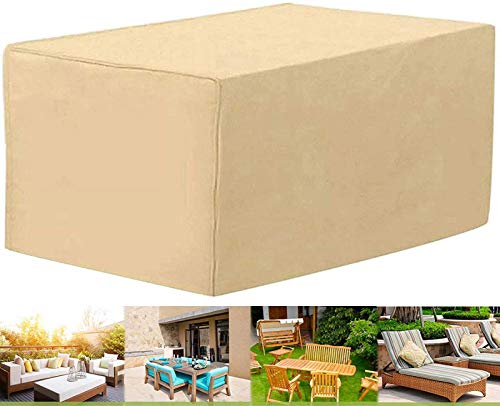 PJPPJH Garden Protective Cover,Garden Furniture Cover, Outdoor Table Cover Heavy Duty Waterproof Rip Proof Oxford Fabric Patio Table Cover, Windproof Anti-UV Snow with Drawstring for Rectangular Cube