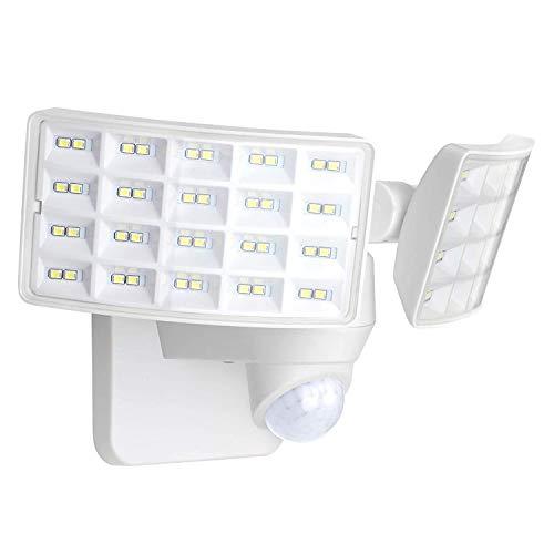 LUOWAN Luces de seguridad LED de 20 W, luz con sensor de movimiento para exteriores, 2400LM, 5500K, IP65 a prueba de agua, luz de inundación LED de movimiento de 2 cabezales para garaje