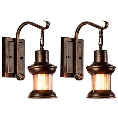 Vintage Glas Wandleuchte 2 Pack Rustikale Glas Wandlampe Retro Metall Schwarz Malerei Farbe Wandleuchte für Restaurant Home Bar Schlafzimmer Nachttisch Korridor Dekorieren (keine Glühbirne)