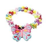 Fenical Set di bracciali in Acrilico con Collana a Farfalla Set di Orecchini in Laminato a Forma di Farfalla per Bambine