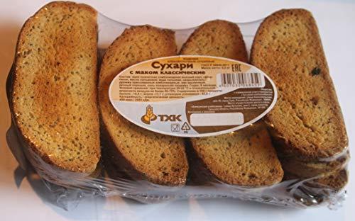 Classic crackers with with poppy 10.5oz Product of Russia Сухари с маком классические 'ТХК' Sukhari