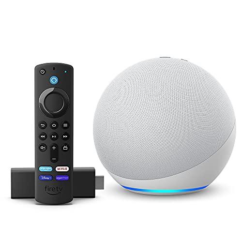 Echo (4th generation) Glacier White with Fire TV Stick (includes TV controls)
